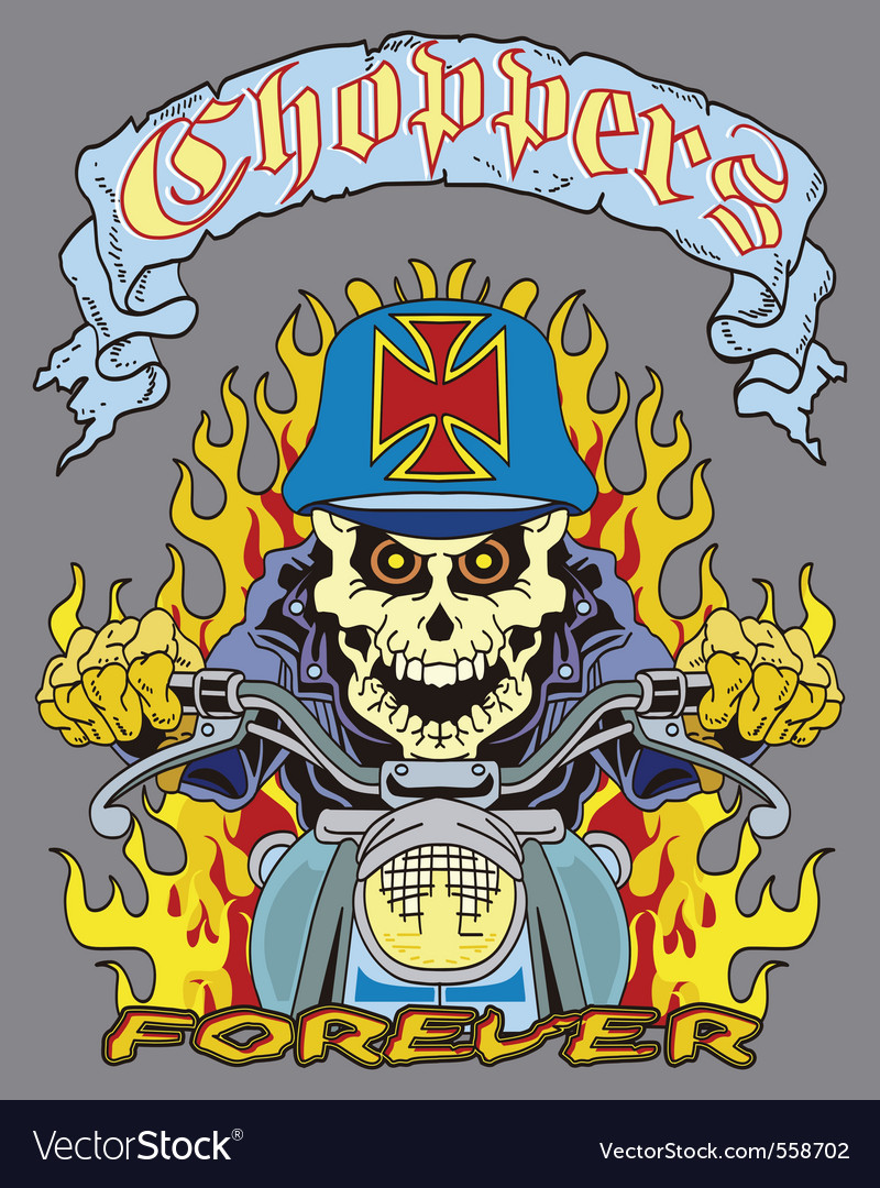 Skull in a chopper vector | Price: 3 Credit (USD $3)