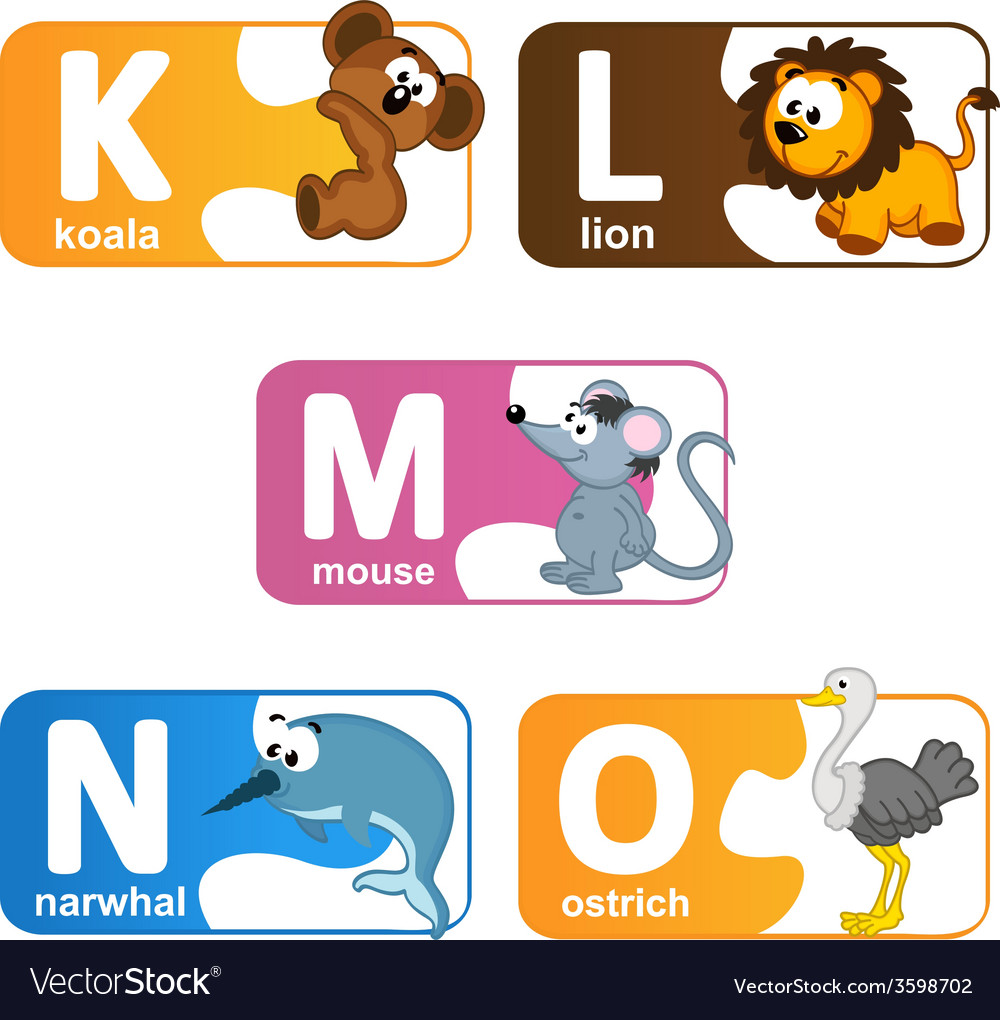 Stickers alphabet animals from k to o vector | Price: 1 Credit (USD $1)