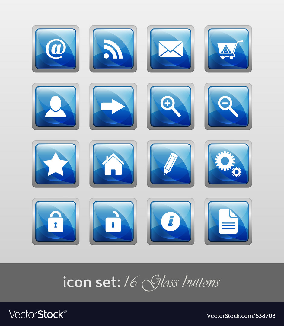 16 glass buttons vector | Price: 1 Credit (USD $1)