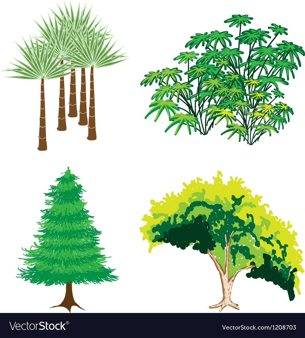 An isometric collection of green trees and plants vector | Price: 1 Credit (USD $1)