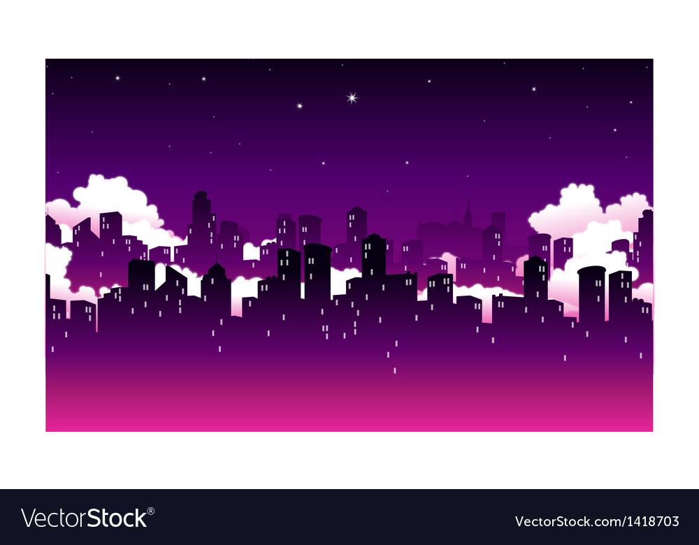 City skyline at night vector   Price: 1 Credit (USD $1)