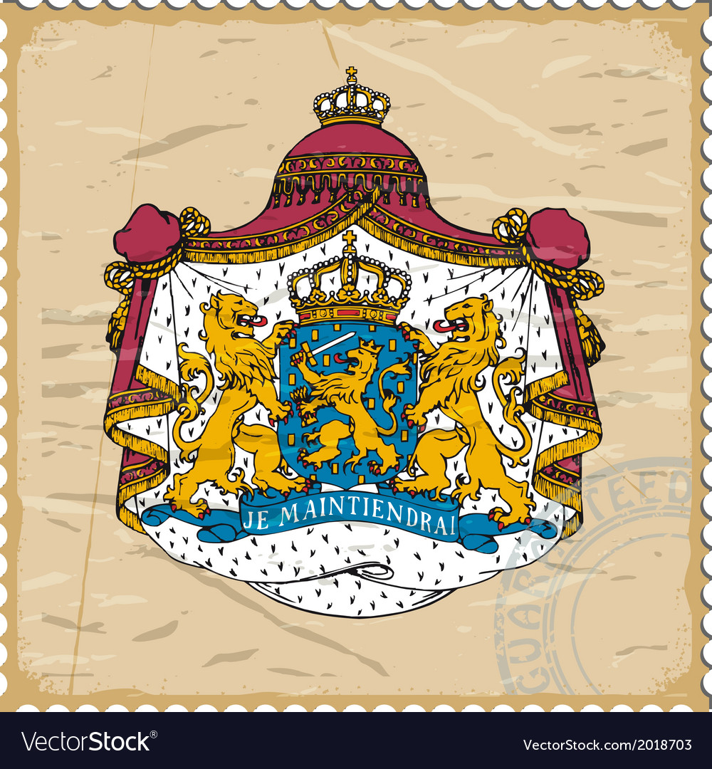 Coat of arms of netherlands on postage stamp vector | Price: 1 Credit (USD $1)