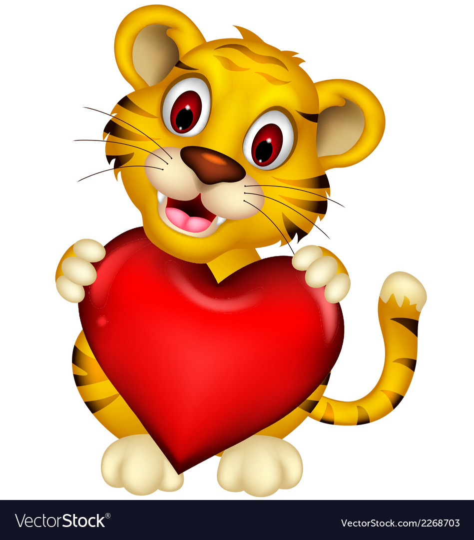 Cute baby tiger posing with heart love vector | Price: 1 Credit (USD $1)