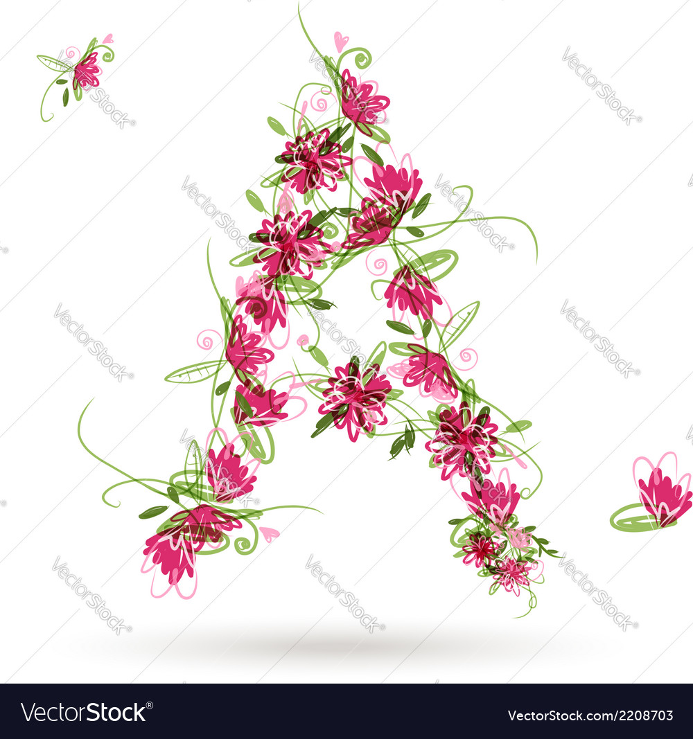 Floral letter a for your design vector | Price: 1 Credit (USD $1)