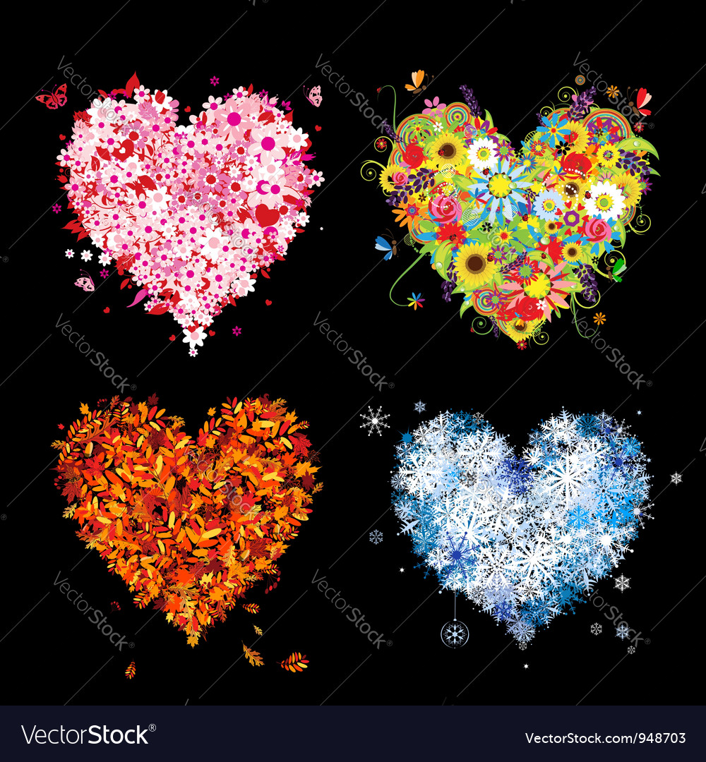 Four seasons heart - spring summer autumn winter vector | Price: 1 Credit (USD $1)
