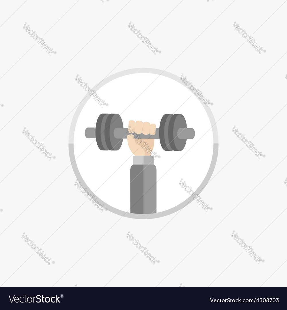Hand with dumbell round icon sport fitness vector | Price: 1 Credit (USD $1)