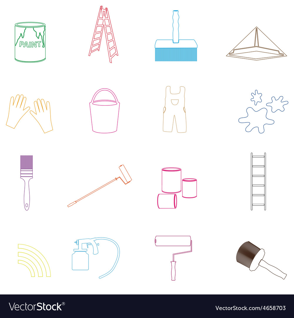 Paint and room painter outline icons set eps10 vector | Price: 1 Credit (USD $1)