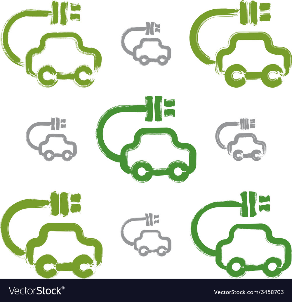 Set of hand-drawn green eco car icons collection vector | Price: 1 Credit (USD $1)