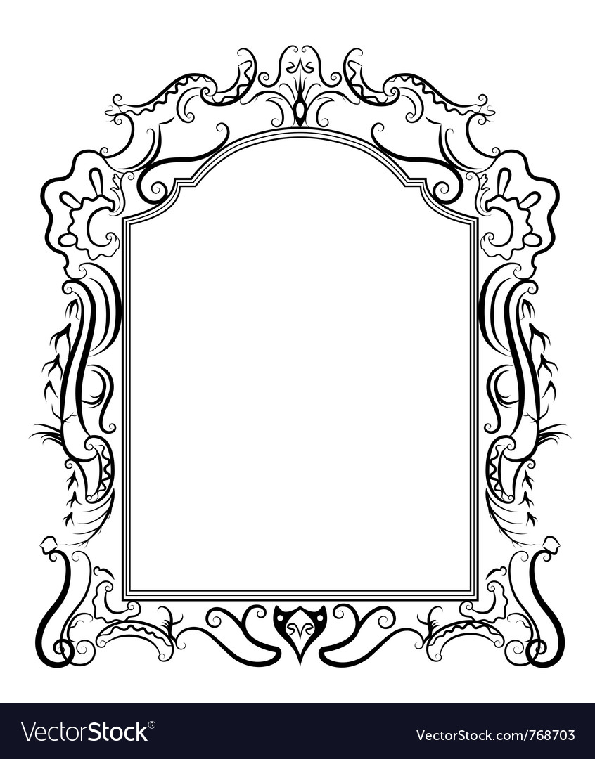 Stylized baroque frame vector | Price: 1 Credit (USD $1)