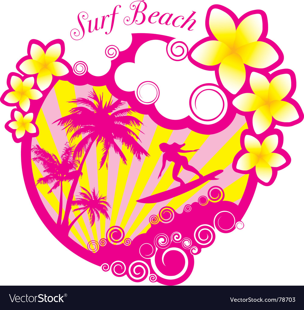 surf beach illustration vector | Price: 1 Credit (USD $1)