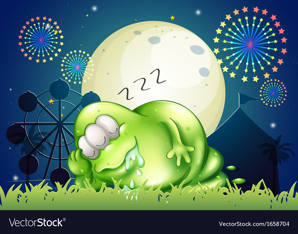 A fat monster sleeping at the carnival in the vector | Price: 3 Credit (USD $3)
