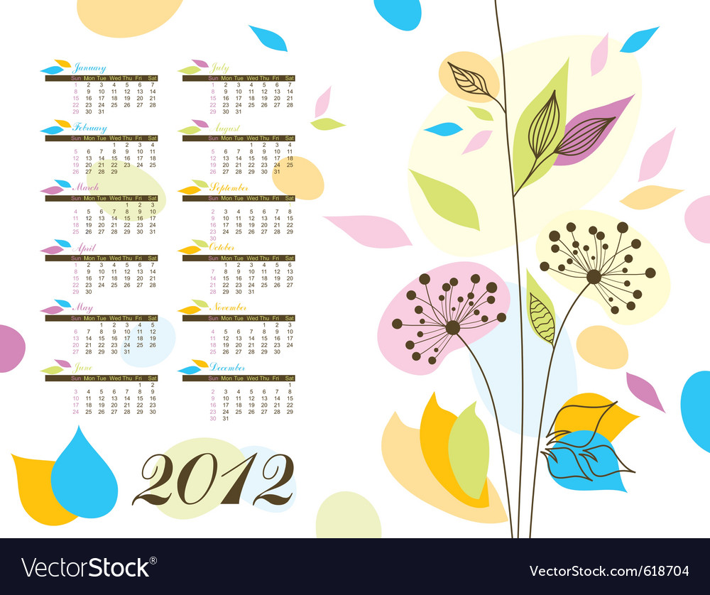 Abstract floral calendar 2012 vector | Price: 1 Credit (USD $1)