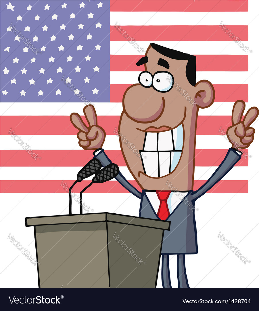 Barack obama flashes victory signs from podium vector | Price: 3 Credit (USD $3)