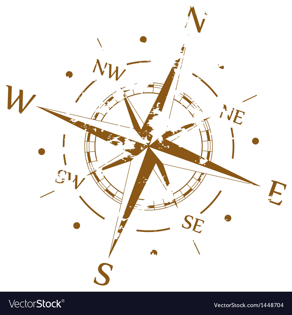Brown grunge compass vector | Price: 1 Credit (USD $1)