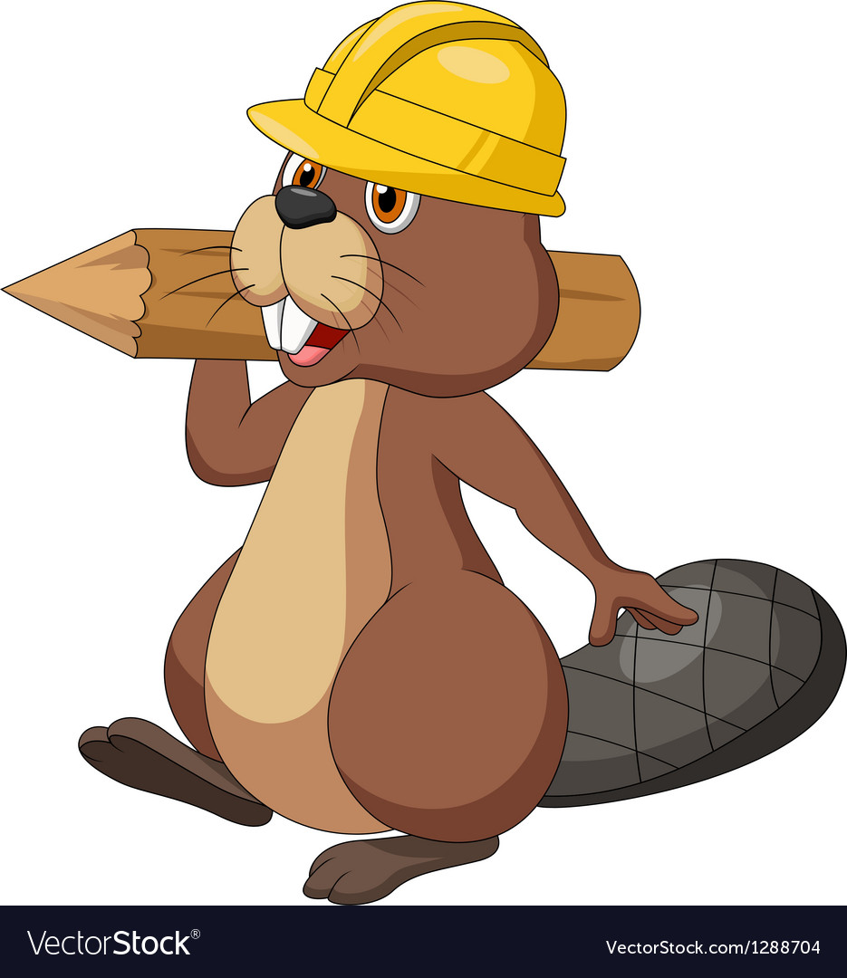 Cute cartoon beaver wearing safety hat and holding vector | Price: 1 Credit (USD $1)