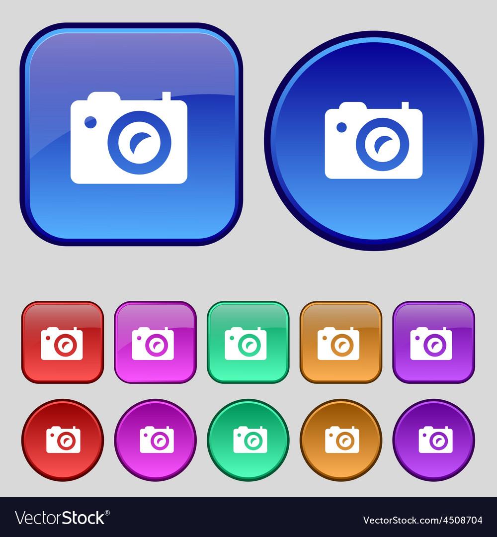 Digital photo camera icon sign a set of twelve vector | Price: 1 Credit (USD $1)