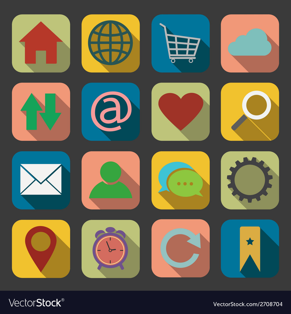 Flat website and internet icon vector | Price: 1 Credit (USD $1)