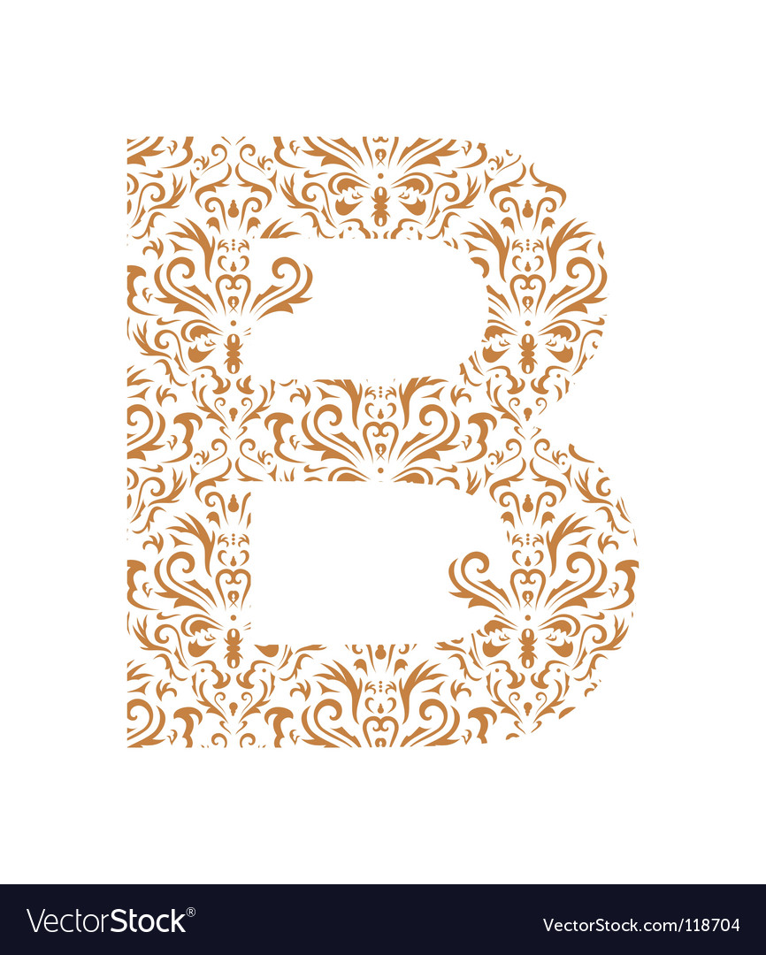 Floral letter b ornament font vector | Price: 1 Credit (USD $1)