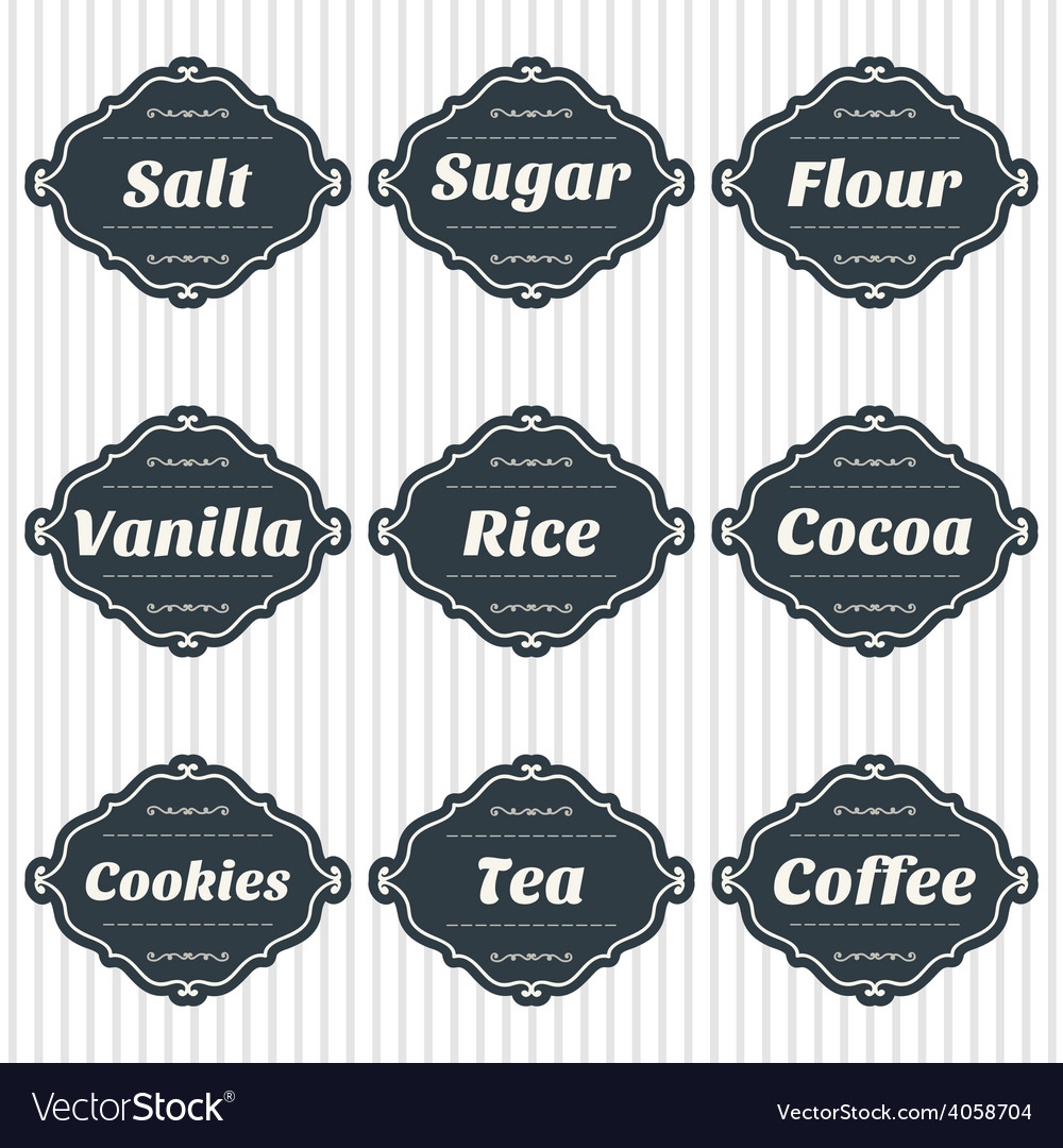 Food storage labels kitchen food storage tags vector | Price: 1 Credit (USD $1)