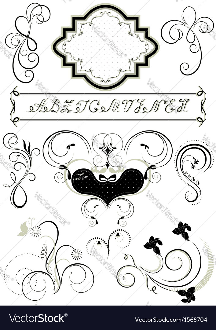 Frames and calligraphic ornaments for feel of page vector | Price: 1 Credit (USD $1)