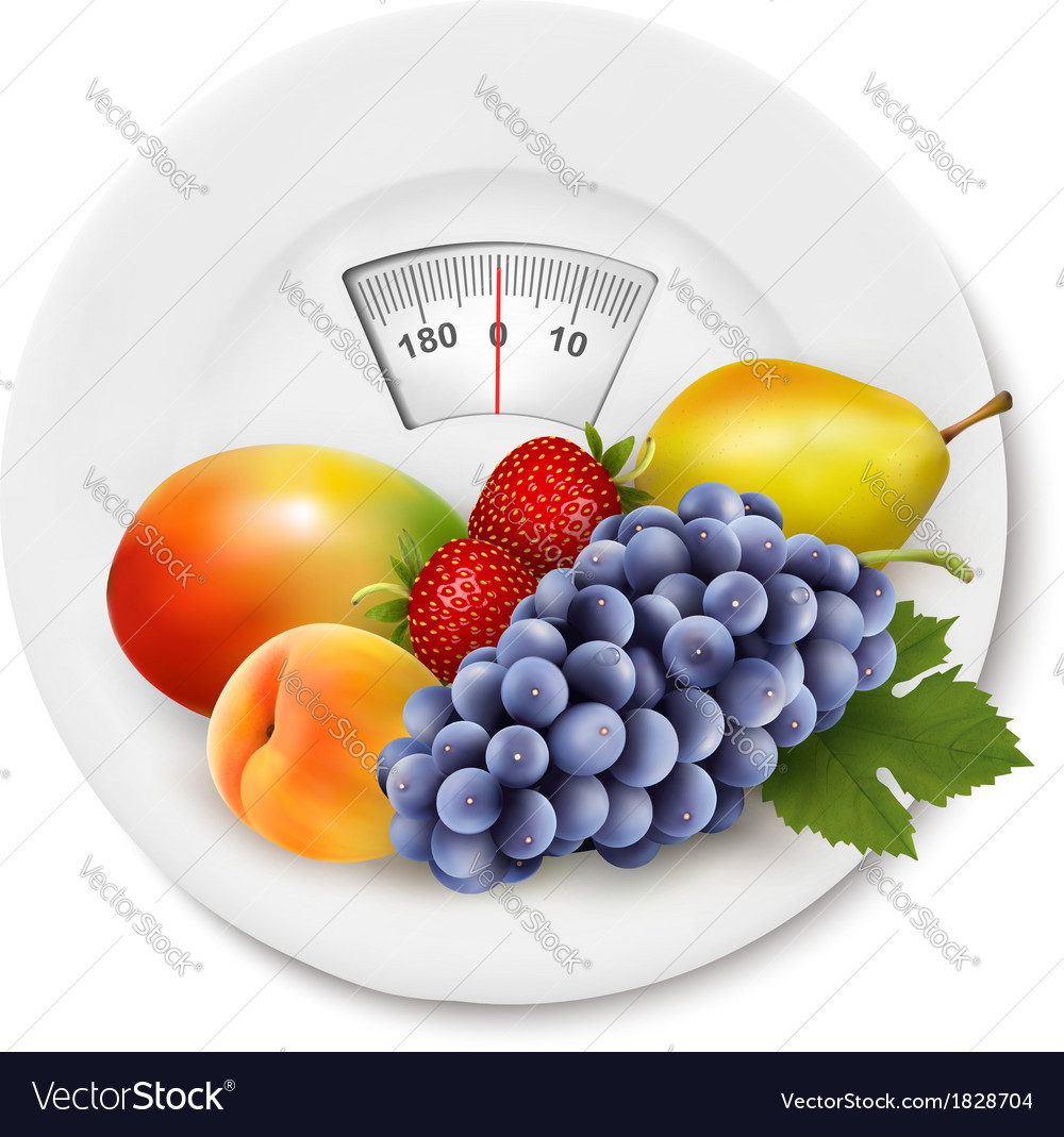 Fruit on the weight scale diet concept vector | Price: 1 Credit (USD $1)