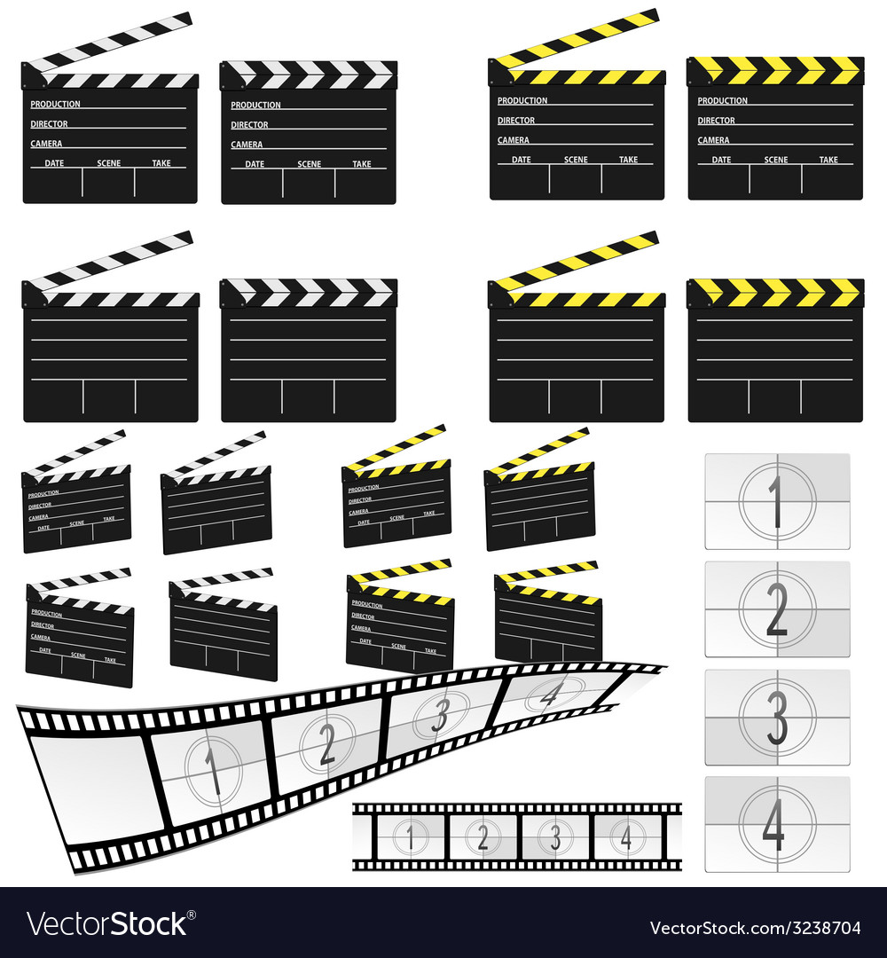 Movie clapper white and yellow and film vector | Price: 1 Credit (USD $1)