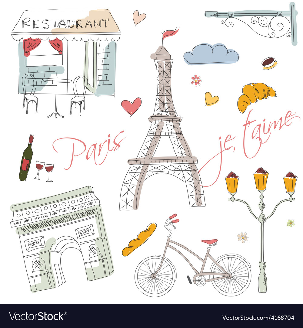 Paris symbols postcard hand drawn vector | Price: 1 Credit (USD $1)