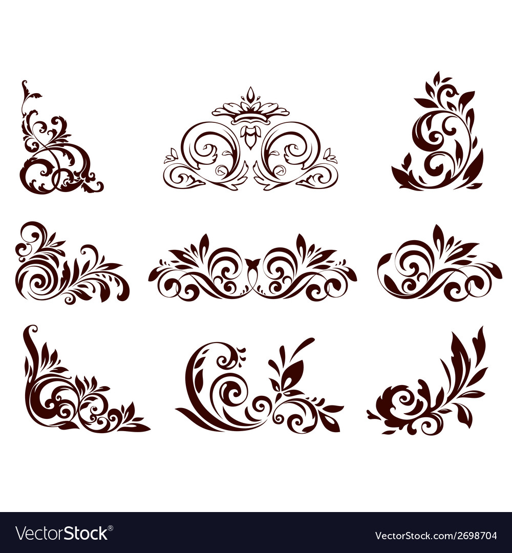 Set of floral element vector | Price: 1 Credit (USD $1)