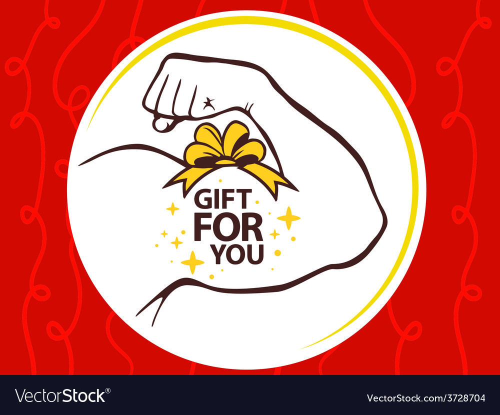 Strong man hand with icon of gift for yo vector | Price: 1 Credit (USD $1)
