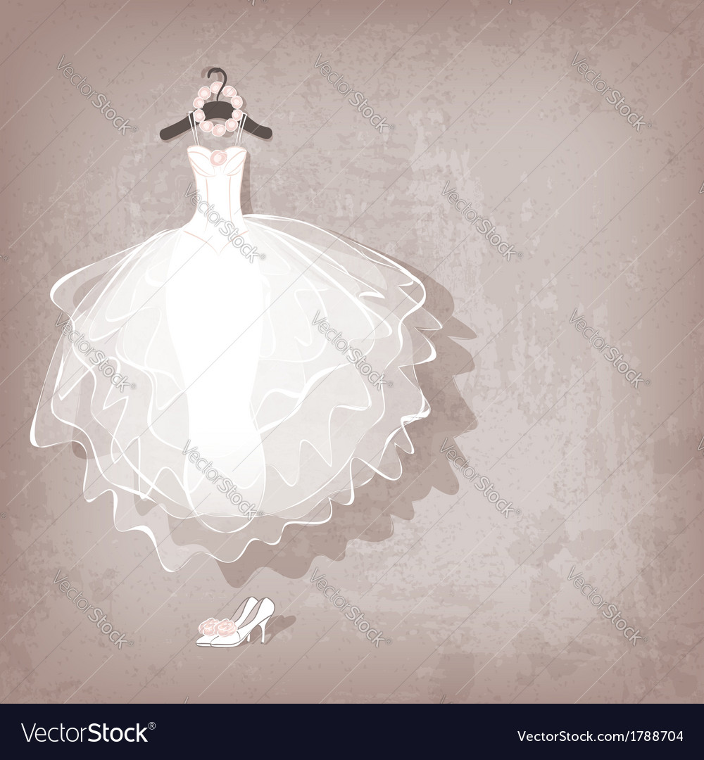 Wedding dress on grungy background vector | Price: 1 Credit (USD $1)