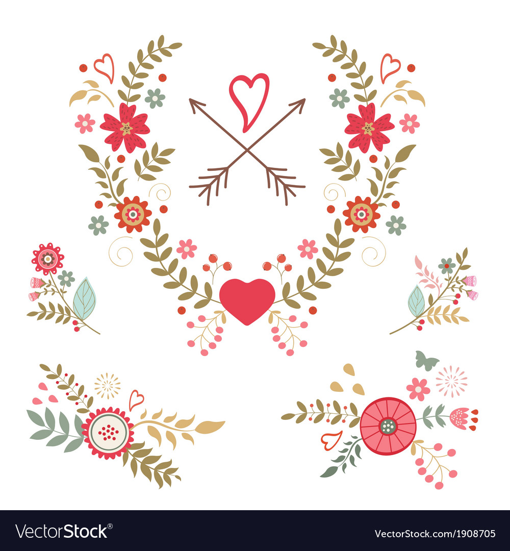 Beautiful collection of floral compositions vector | Price: 1 Credit (USD $1)