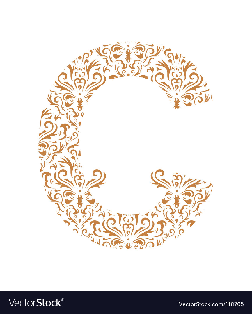 Floral letter c ornament font vector | Price: 1 Credit (USD $1)