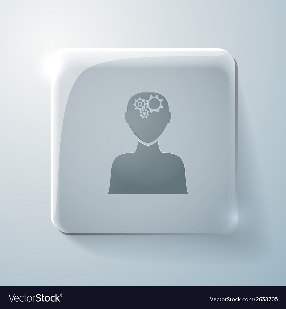 Glass icon man thinks the gears in head vector | Price: 1 Credit (USD $1)
