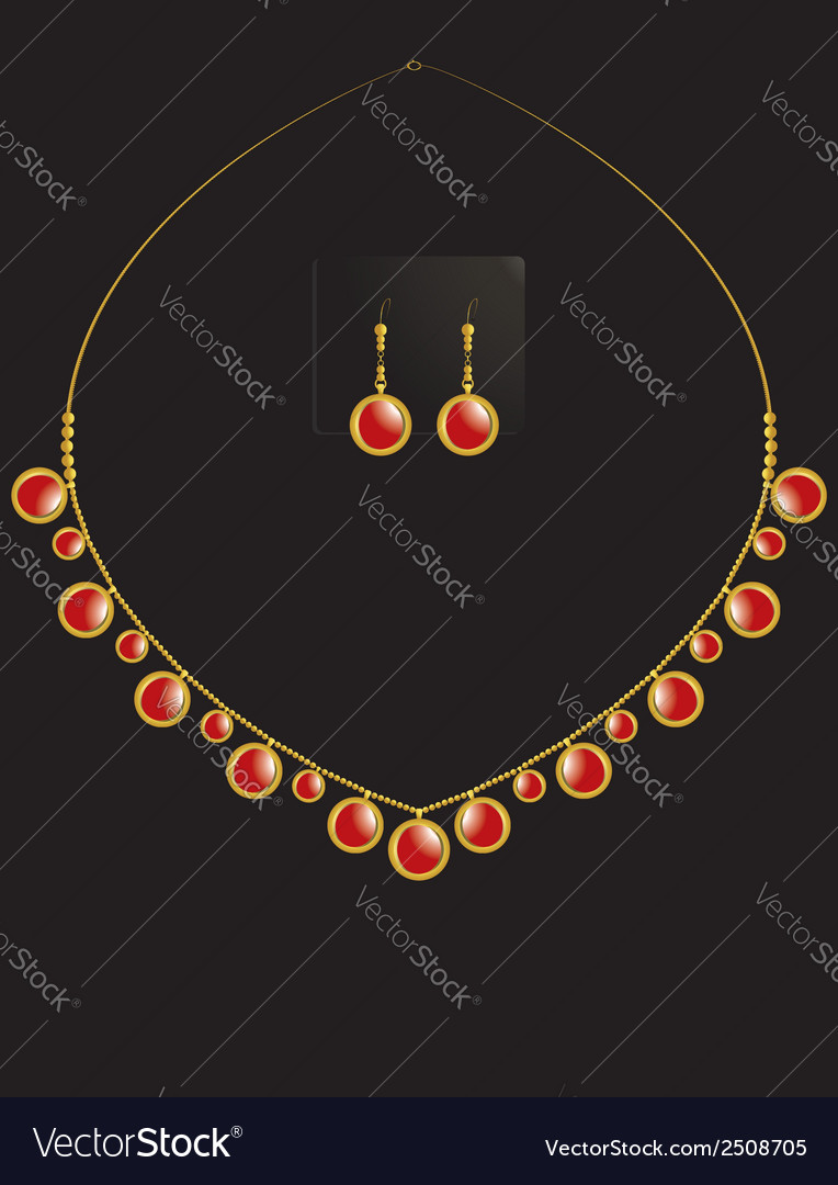 Gold coin necklace set 2 vector | Price: 1 Credit (USD $1)