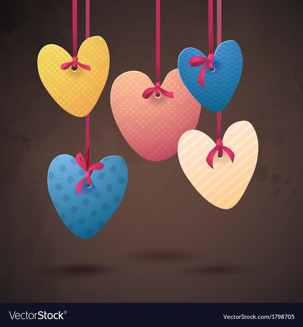 Happy valentines day paper retro hearts vector | Price: 1 Credit (USD $1)