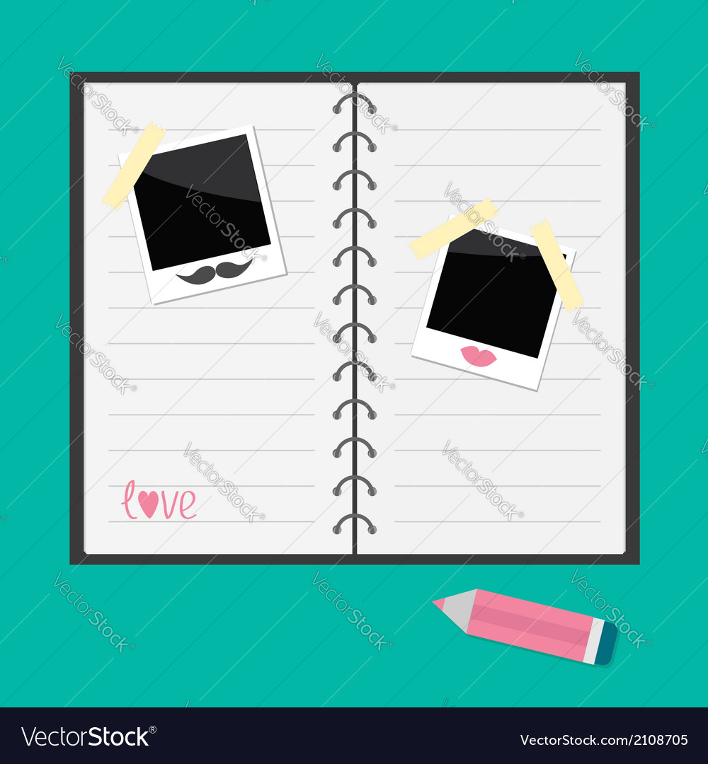 Notepad with spiral lined paper instant photo vector | Price: 1 Credit (USD $1)