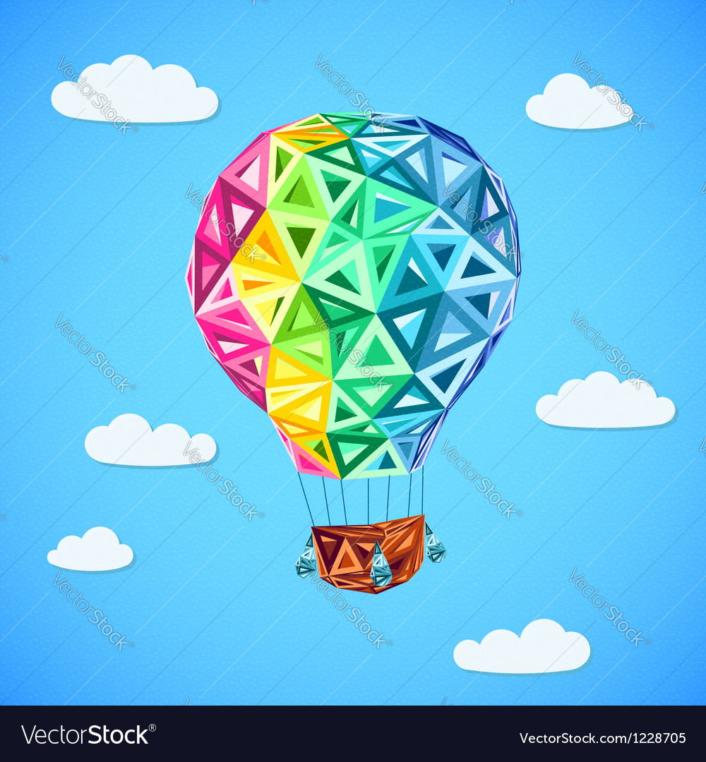 Rainbow colors abstract triangles flying balloon vector | Price: 1 Credit (USD $1)