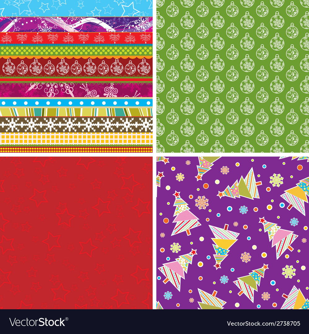 Scrapbook christmas patterns for design vector | Price: 1 Credit (USD $1)