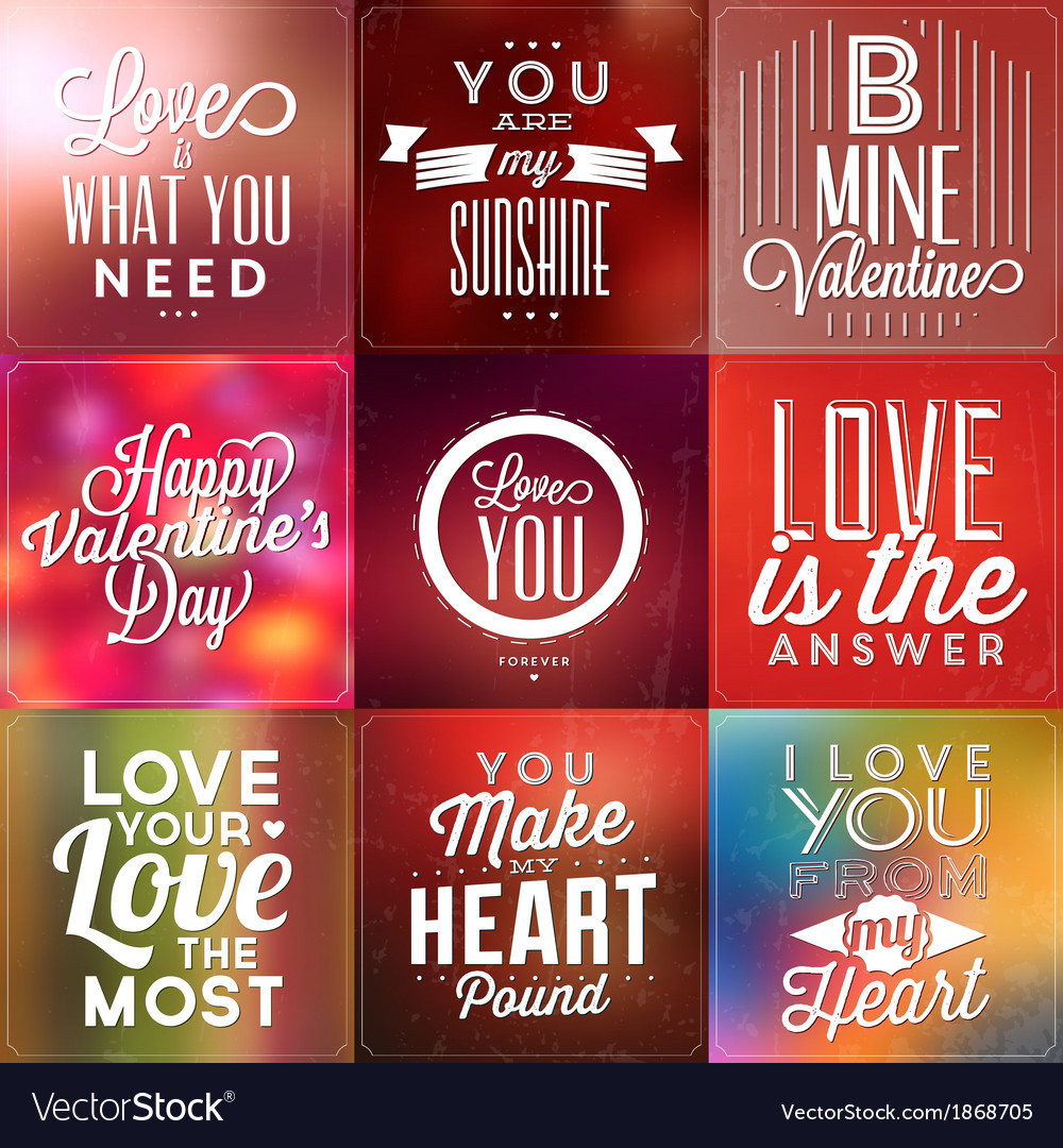 Set of typographic valentines day backgrounds vector | Price: 1 Credit (USD $1)