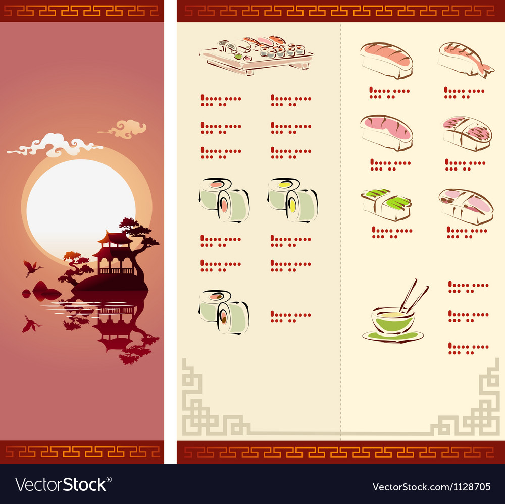 Template design of sushi menu vector | Price: 1 Credit (USD $1)