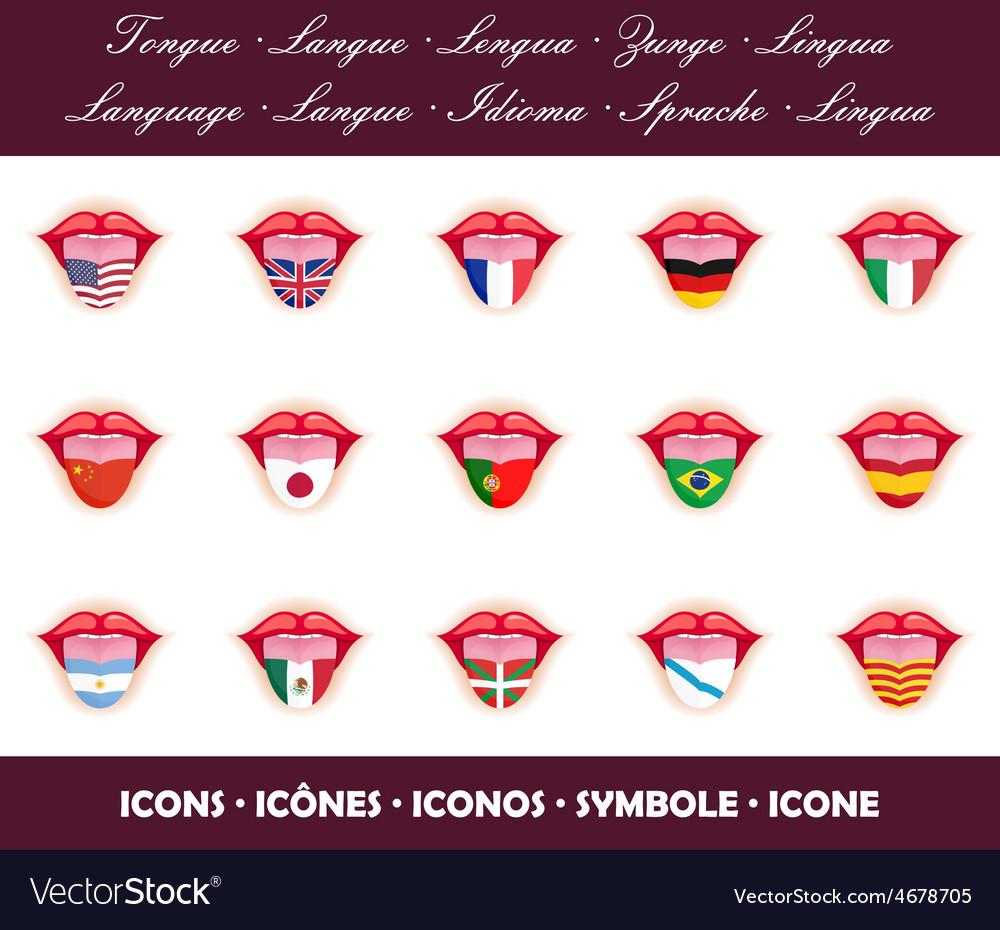 Tongues language icon set vector | Price: 1 Credit (USD $1)