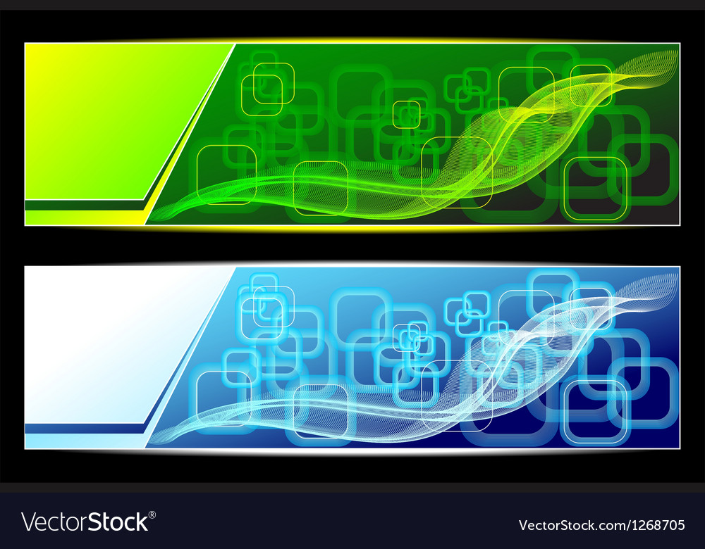 Two abstract banners backgrounds in green blue col vector | Price: 1 Credit (USD $1)