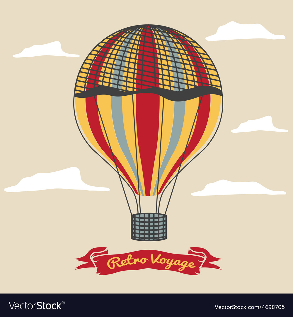 Vintage hot air balloon in the sky with clouds vector | Price: 1 Credit (USD $1)