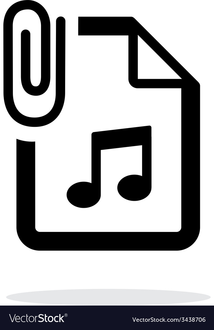 Attached audio file icon on white background vector | Price: 1 Credit (USD $1)