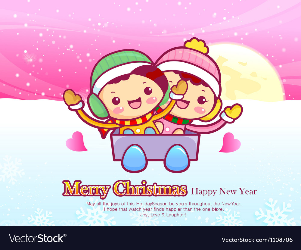 Boys and girls sleigh ride christmas card design vector | Price: 3 Credit (USD $3)