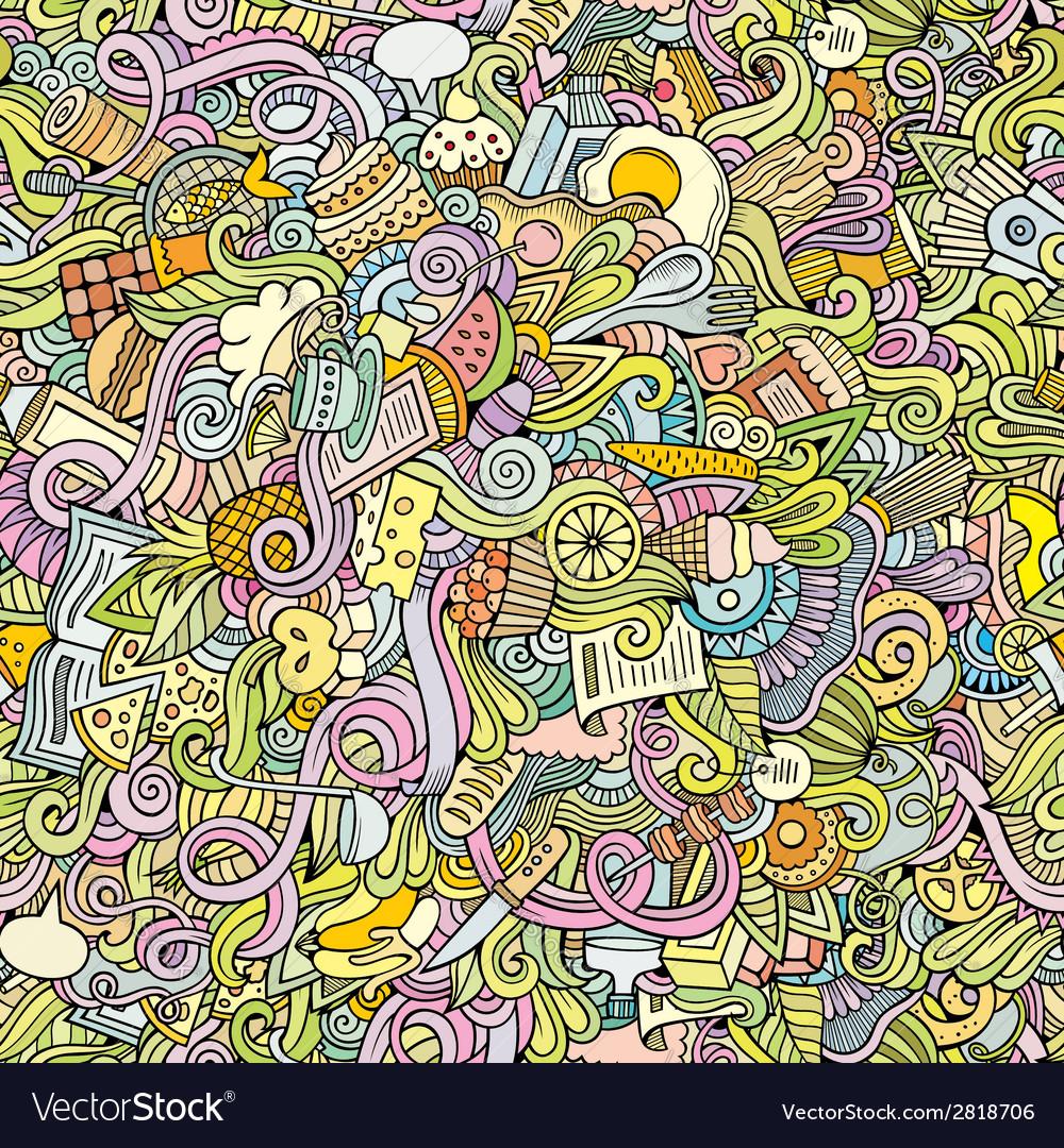 Cartoon doodles food seamless pattern vector   Price: 1 Credit (USD $1)