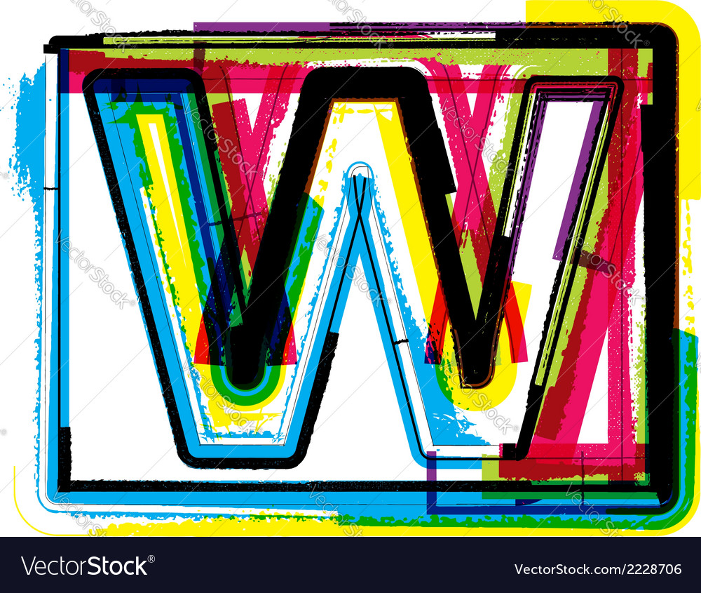 Colorful grunge font letter w vector | Price: 1 Credit (USD $1)