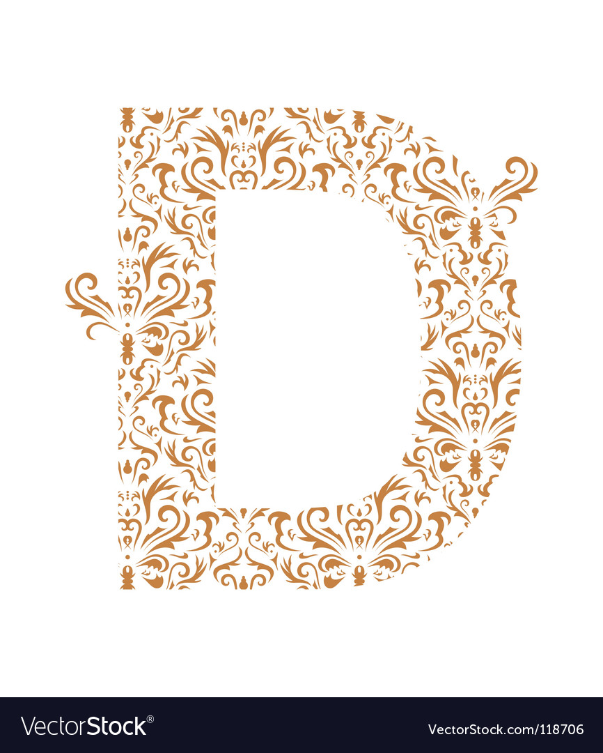 Floral letter d ornament font vector | Price: 1 Credit (USD $1)