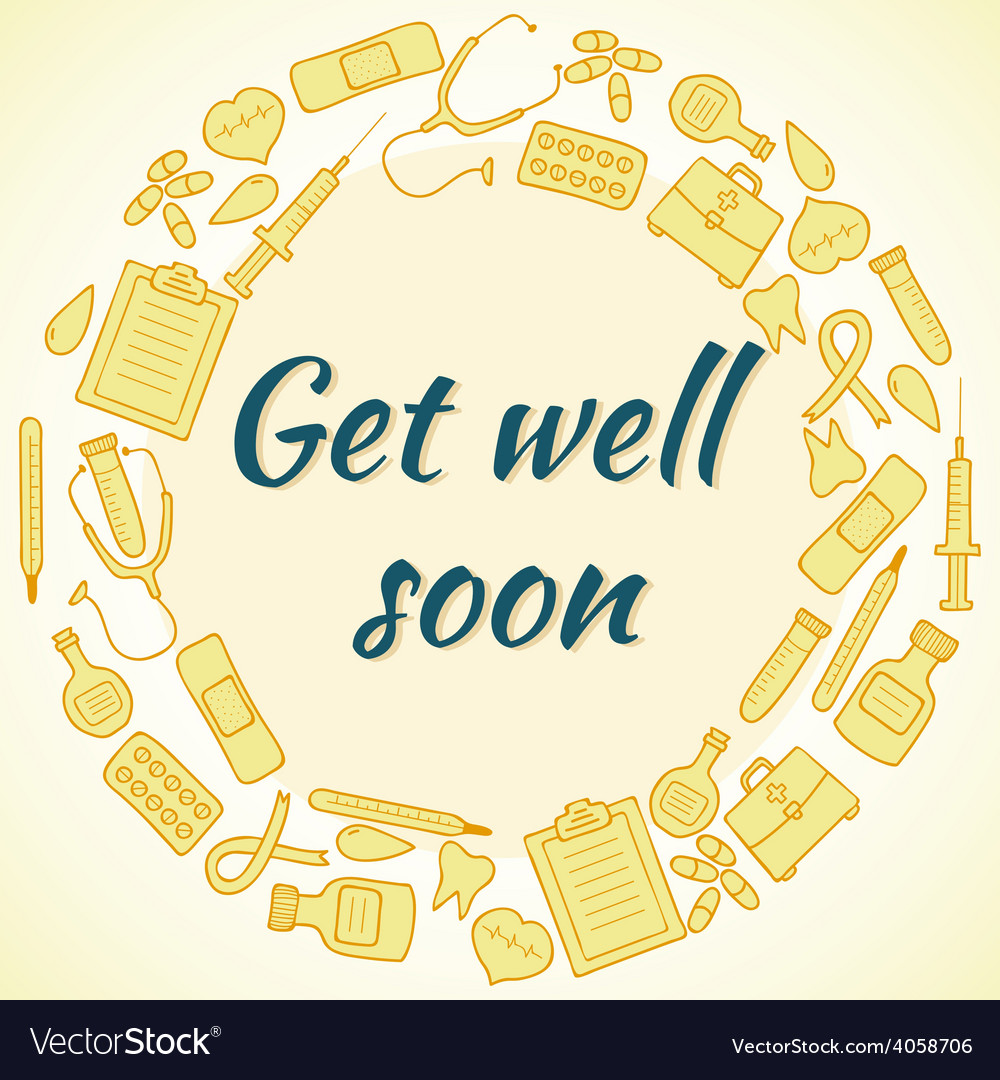Get well soon card frame with medical elements vector | Price: 1 Credit (USD $1)