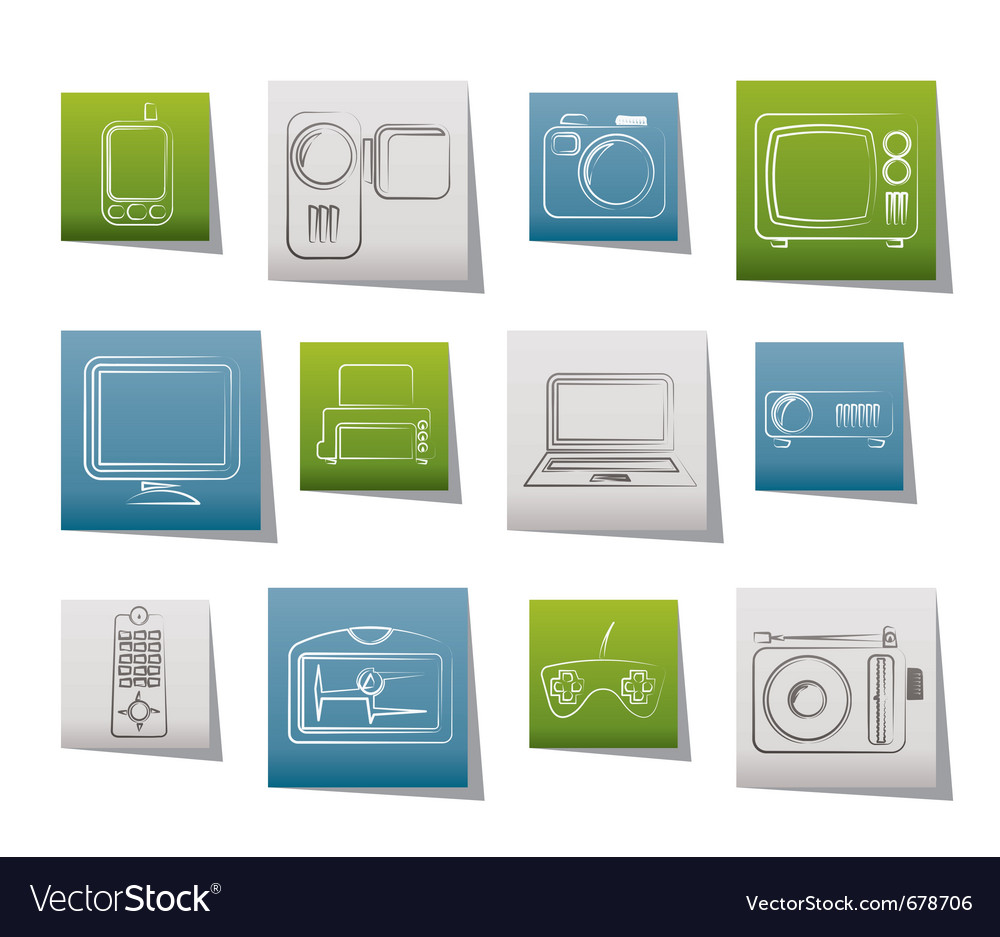 Hi-tech technical equipment icons vector | Price: 1 Credit (USD $1)